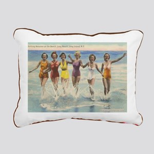 Vintage Beach Postcard Rectangular Canvas Pillow